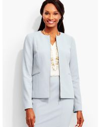 Talbots Blue Luxe Italian Double-weave Zip-front Jacket-newport Collection
