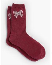 Talbots - Red Lurex(r) Bow Trouser Sock - Lyst