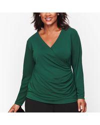 Talbots Green Knit Jersey Wrap Top