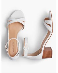 Talbots - White Mimi Ankle-strap Sandals - Pebbled Leather - Lyst