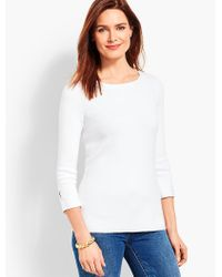 Talbots - White Button-cuff Bateau Sweater - Lyst