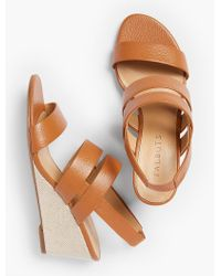 Talbots - Multicolor Royce Pebbled Leather Wedge Sandals - Lyst