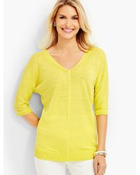 Talbots Yellow Double-v Linen Sweater Topper