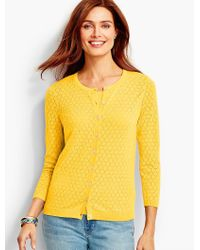 Talbots | Yellow Charming Cardigan - Pointelle Stitched | Lyst