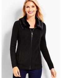 Talbots Black Faux-fur Collar Zip-front Cardigan