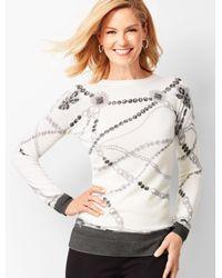Talbots White Merino Jewel-print Sweater