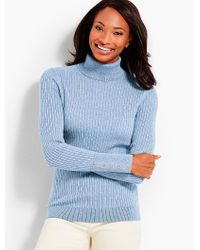 Talbots Blue Button-cuff Cotton Turtleneck