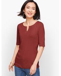 Talbots Red Split Neck Cotton T-shirt