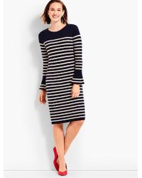 Talbots - Blue Stripe Cable Knit Shift Dress - Lyst