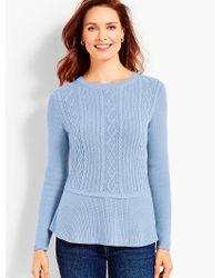 Talbots - Blue Cable Peplum Sweater - Lyst