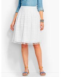 Talbots White Tassel-trimmed Pleated Skirt