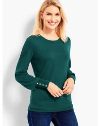 Talbots Green Button-cuff Merino Wool Sweater