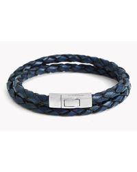 Tateossian - Blue Double Wrap Scoubidou Leather Bracelet for Men - Lyst