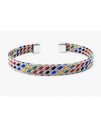 Tateossian - Blue Kaleidoscope Multicoloured Bangle In Stainles Steel With Silver Caps - Lyst