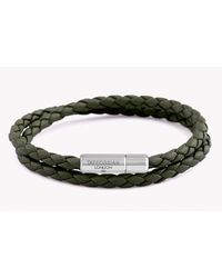 Tateossian Double Wrap Slim Pop Bracelet In Green Leather With Silver Clasp for men