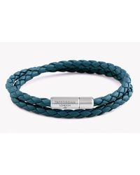 Tateossian | Blue Double Wrap Slim Pop Bracelet In Teal Leather With Silver Clasp for Men | Lyst
