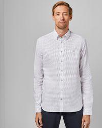 Ted Baker Blue Tall Geo Print Shirt for men