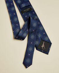 Tie Motif Silk Tie Ted Baker de hombre de color Blue