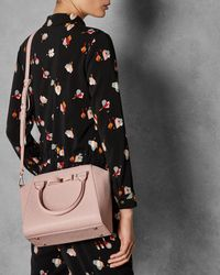 Ted Baker Pink Bow Detail Zipped Leather Tote Bag