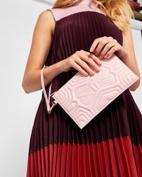 Ted Baker Pink Quilted Bow Leather Clutch Bag