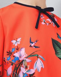 Ted Baker Red Tropical Oasis Bow And Scallop Detail Top