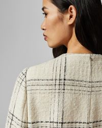 Ted Baker White Boucle Checked Coat