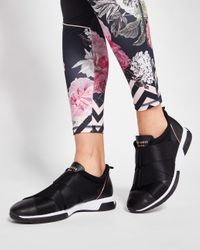 Ted Baker Black Elastic Strap Leather Trainers