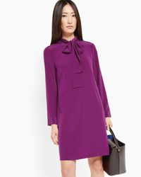 Ted Baker | Purple Silk Pussy Bow Dress | Lyst