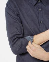 Ted Baker   Blue Stretch Linen Shirt for Men   Lyst