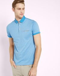 Ted Baker | Blue Rolled Cuff Cotton Polo Shirt for Men | Lyst