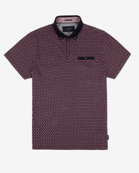 Ted Baker - Red Circle Print Polo Shirt for Men - Lyst
