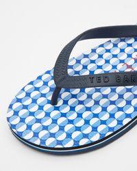 Ted Baker - Blue Geo Printed Flip Flops for Men - Lyst