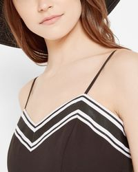 Ted Baker Black Striped Asymmetric Hem Dress