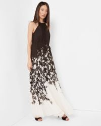 Ted Baker | Black Floral Print Pleated Maxi Dress | Lyst