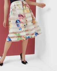 Ted Baker | Multicolor Tapestry Floral Burnout Skirt | Lyst