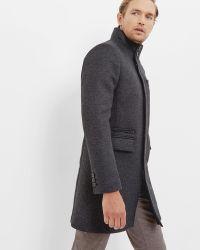 Ted Baker | Gray Funnel Neck Overcoat for Men | Lyst