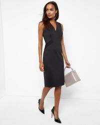 Ted Baker - Black Ottoman Stretch-Crepe Dress - Lyst