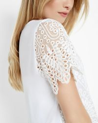 Ted Baker | White Scalloped Edge Lace Top | Lyst