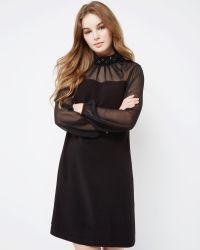 Ted Baker - Black Sheer Embellished Crepe Dress - Lyst