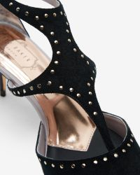Ted Baker - Natural Studded Cut-out Heeled Sandals - Lyst