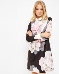 Ted Baker Black Porcelain Rose Collared Dress