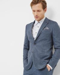 Ted Baker | Blue Herringbone Wool Jacket for Men | Lyst
