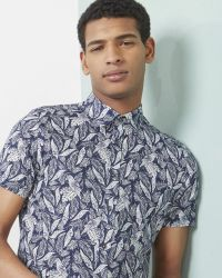 Ted Baker | Blue Leaf And Bird Print Cotton Shirt for Men | Lyst
