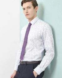 Ted Baker | White Faded Floral Print Cotton Shirt for Men | Lyst