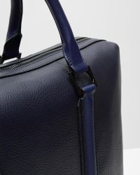 Ted Baker Blue Leather Striped Document Bag for men