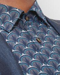 Ted Baker | Blue Shell Print Cotton Shirt for Men | Lyst