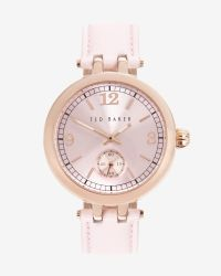 Ted Baker | Metallic Round Leather Watch | Lyst