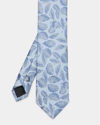 Ted Baker | Blue Leaf Print Silk Tie for Men | Lyst