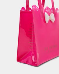 Ted Baker Pink Scallop Edge Small Bow Shopper Bag