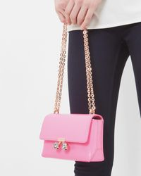 Ted Baker Pink Crystal Bobble Leather Cross Body Bag